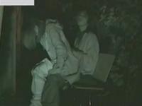 夜の公園でこっそり背面座位で挿入してるカップル