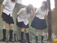 野外で友達と仲良くおしっこをする女子校生を盗撮