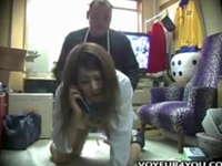 親に電話させながら女子校生を犯す変態店員